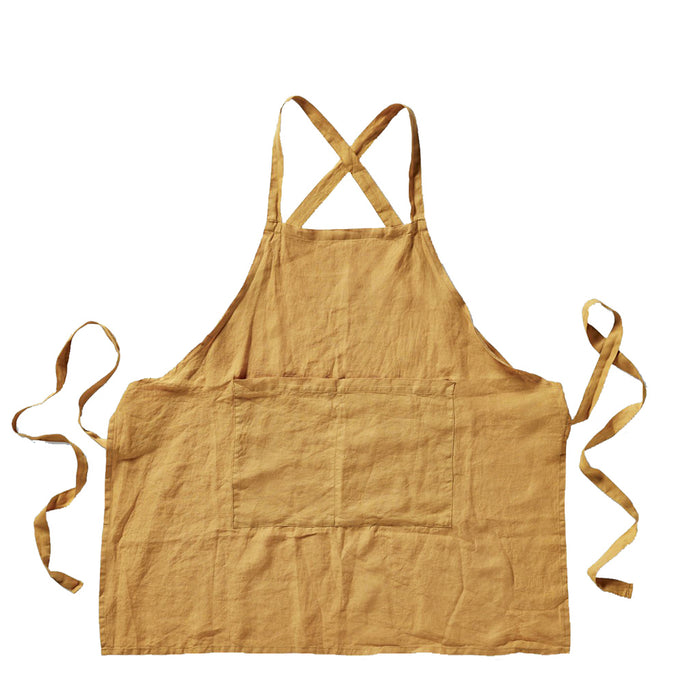 IN BED - 100% Linen Apron - Mustard
