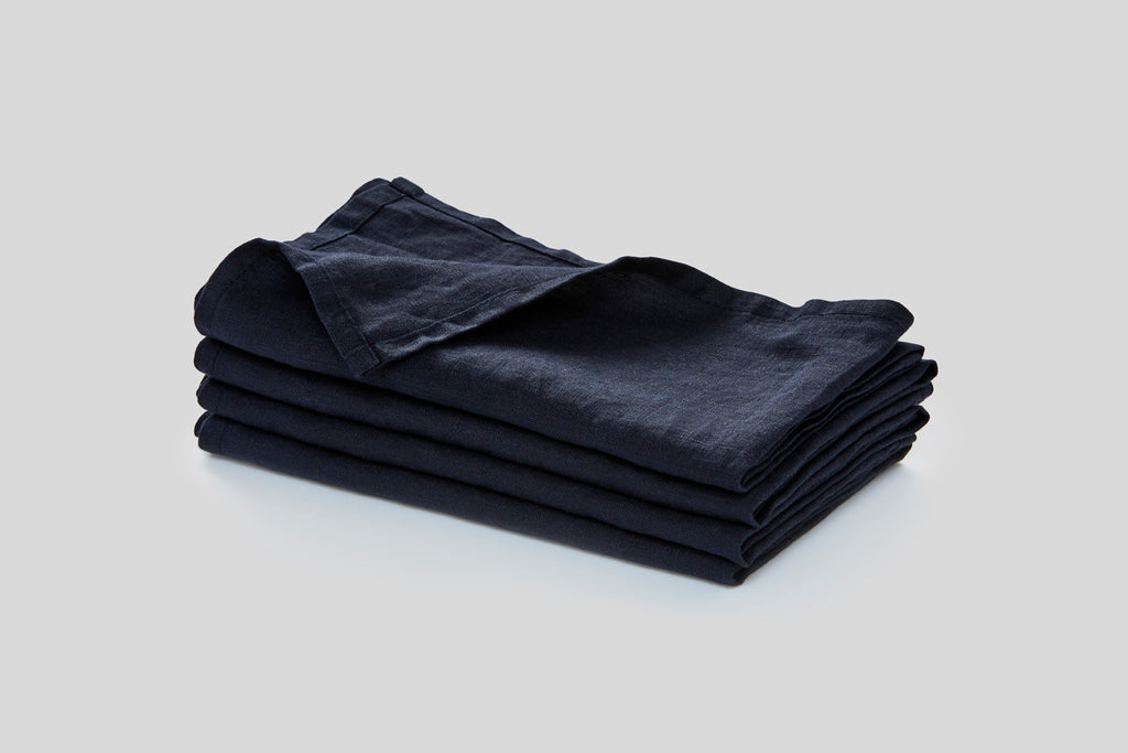 IN BED - Linen Napkin Set - Navy