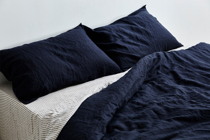 In Bed linen pillowslip pillowcase navy standard