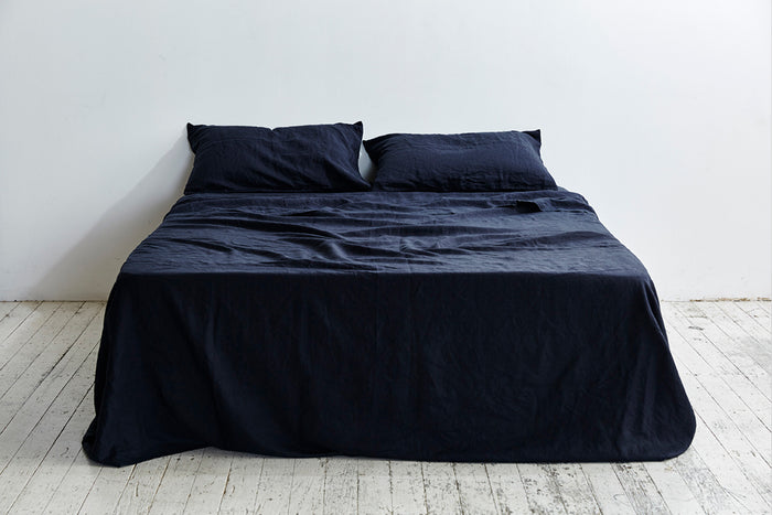 In Bed Linen Flat Sheet Navy King Size