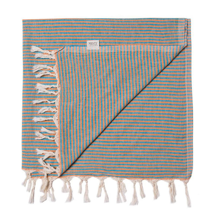 Mayde - Noosa Towel - Orange & Turquoise