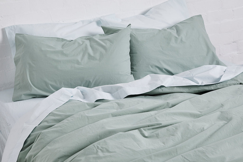 In Bed Washed Cotton Duvet Cover Queen Size Sage