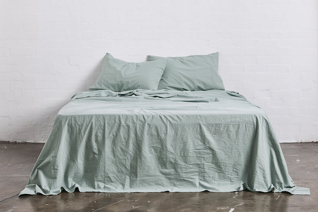 In Bed Washed Cotton flat sheet sage green