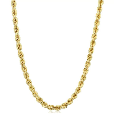 "Brand New 14k Yellow Gold 3mm Italy Rope Chain Twist Link Necklace 22"" 24"" 26"""