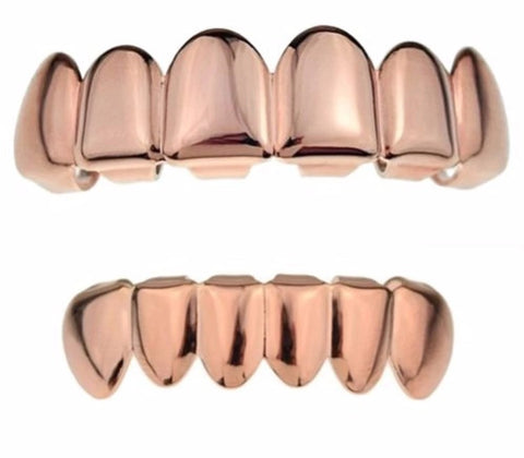 rose gold grillz rose gold teeth hip hop jewelry