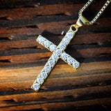 Gold Cross With Lab Diamonds Mens Necklace