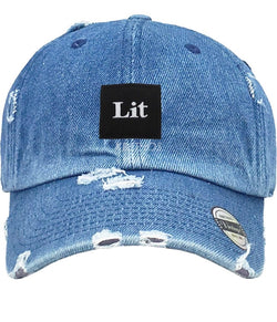 Distressed Denim Lit Dad Hat