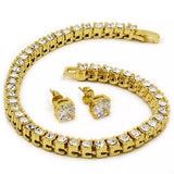 14K Gold Plated Earring And Bracelet Set