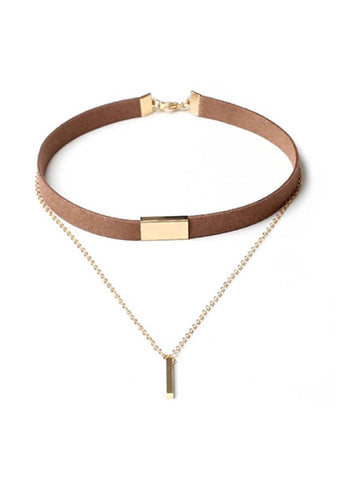 Faux Leather Choker Multi Layer Bar Pendant Necklace