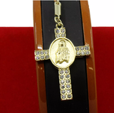 24K Gold Plated Lab Diamond Rosary Necklace