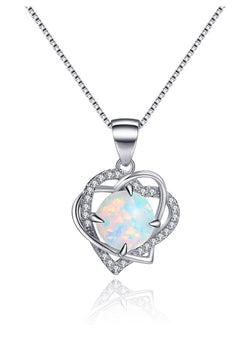 Open Heart Created Opal Sterling Silver Necklace And CZ Pendant Gift for Women