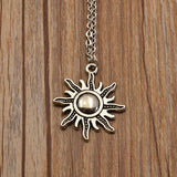 Vintage Fashion Sun Necklace Collectible Cute Silver Womens Girls Chain and Charm