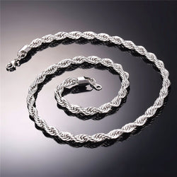 Silver Hip Hop Rope Chain - Multiple Thickness and Lengths Available