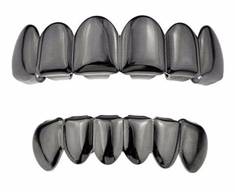 Gun Metal Grillz Top and Bottom Mens Hip Hop Fashion Swag For the Low