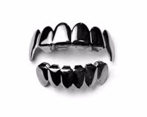 Gun Metal Vampire Fang Grillz Top and Bottom