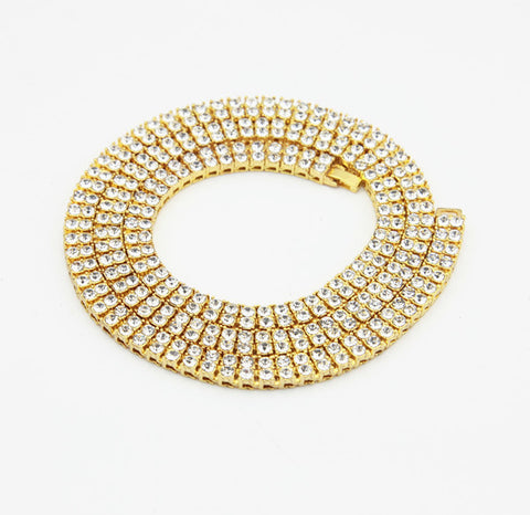 "gold 30"" tennis chain crystal 7mm fashion necklace mens womens"