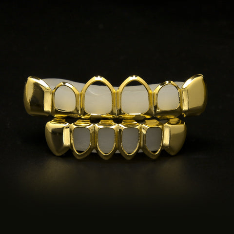 gold open face grillz yellow gold teeth hip-hop jewelry