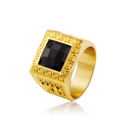 Gold plated onyx fashion mens ring swag for the low 18kt