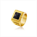 18K Gold Plated Ring With Simulated Onyx
