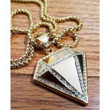 "Iced Out Diamond Pendant W/ 24"" Round Box Chain Necklace"