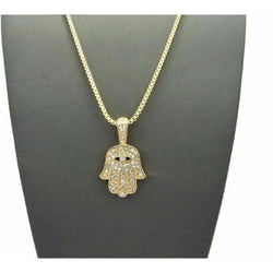 "Gold Hamsa Hand Pendant Micro Paved W/ 24"" Box Chain Necklace"