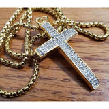 "Iced Out Cross Pendant W/ 24"" Round Box Chain Necklace"