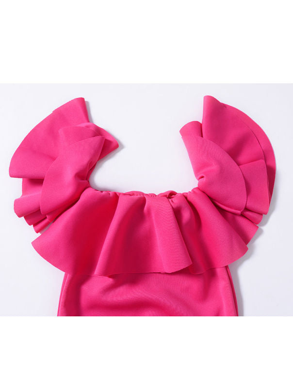 Ruffle Off The Shoulder Pink Bodysuit