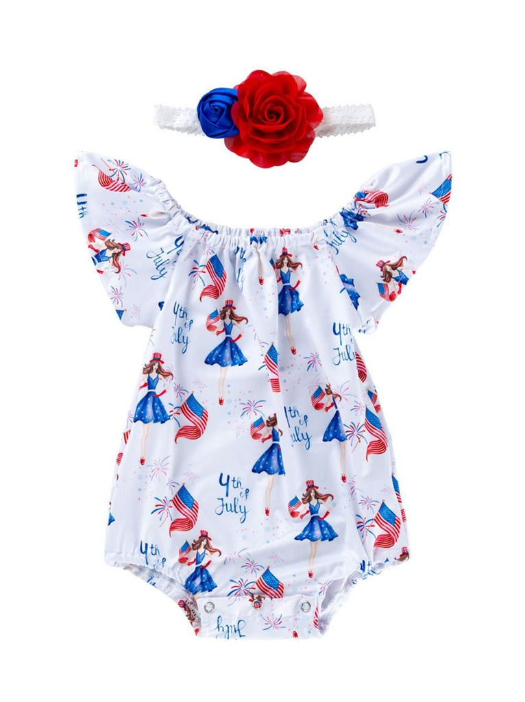 Adorable 4th of July Baby Girl Romper