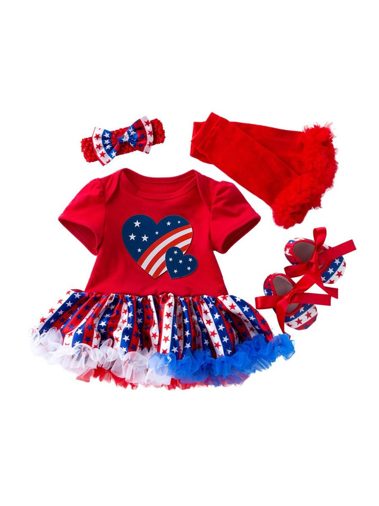 Patriotic 4-Piece Baby Girl Dress Set