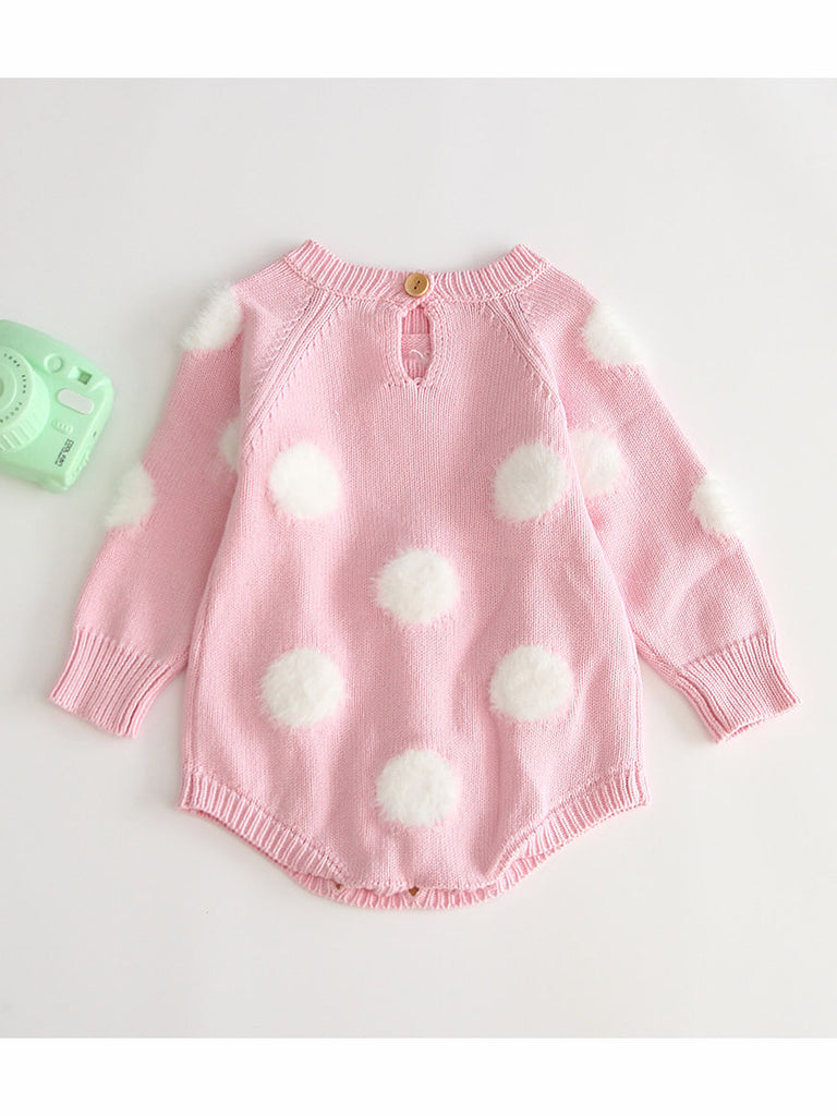 Adorable Fur Pom Crochet Knit Onesie