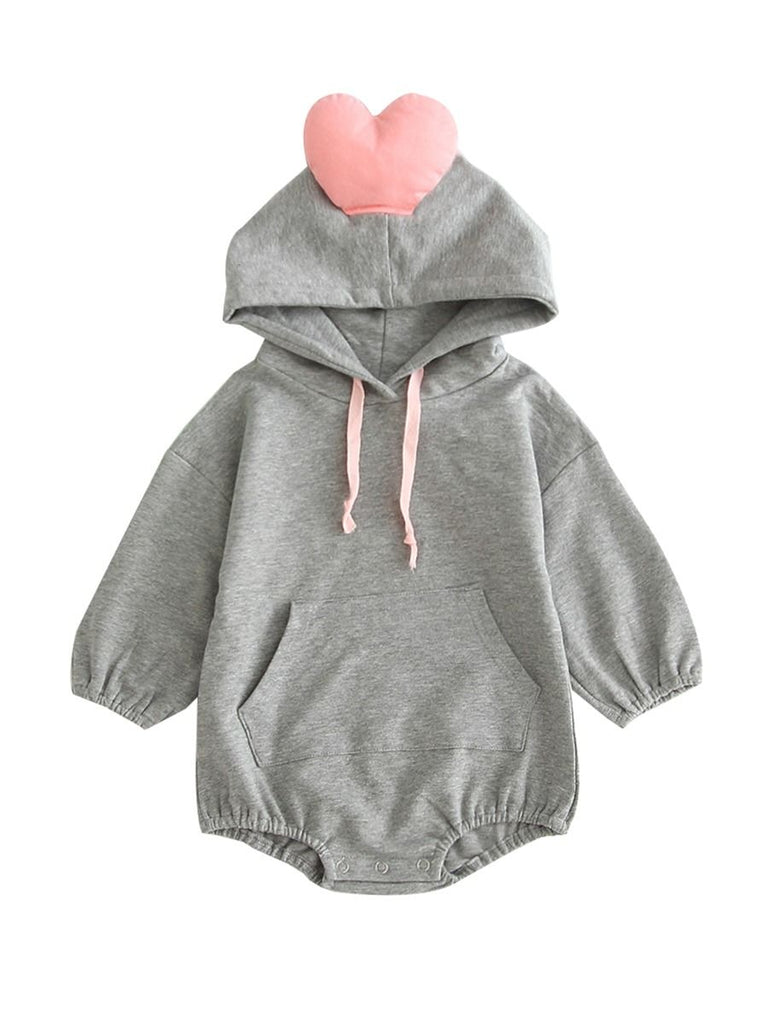 Cute Baby Love Heart Hoodie Playsuit Onesie