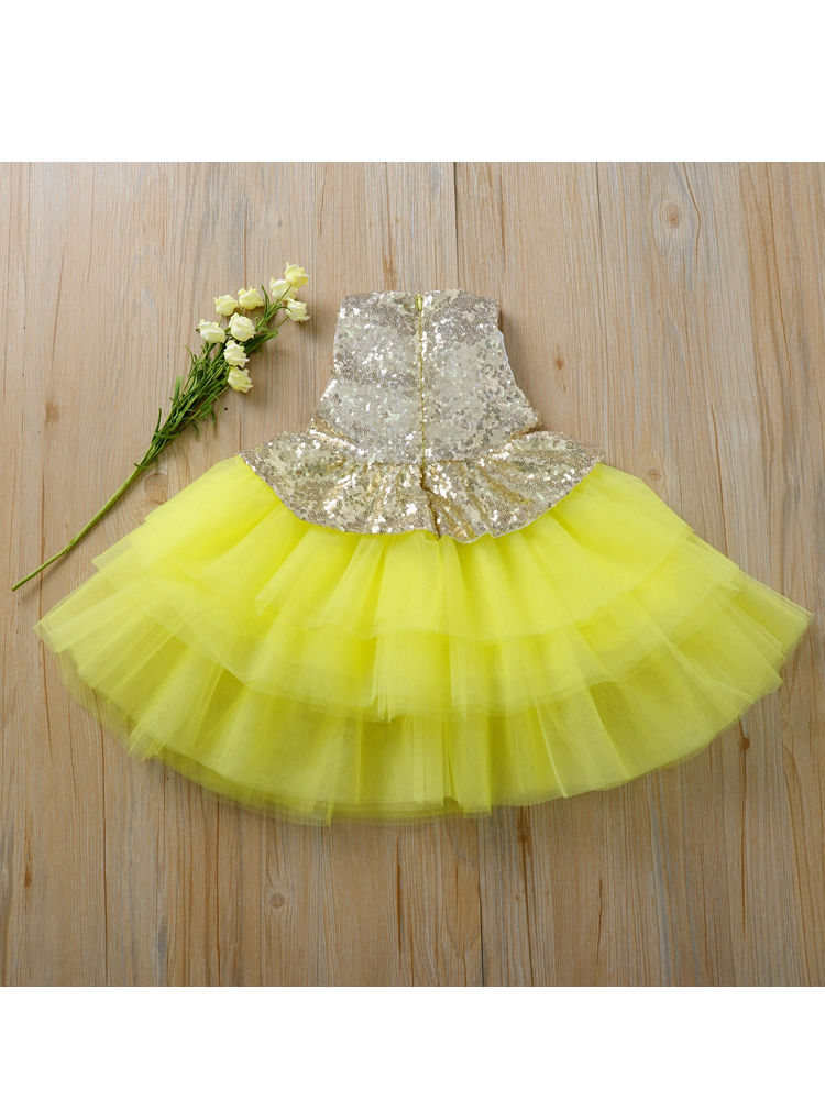 Sequins Ruffle Tulle Peplum Party Girl Dress