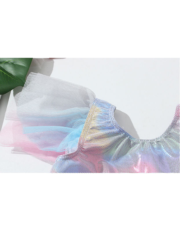 Metallic Tulle Flutter Sleeve Swimwear