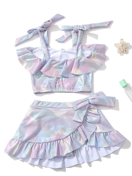 Metallic Girls Two Piece Ruffle Bikini