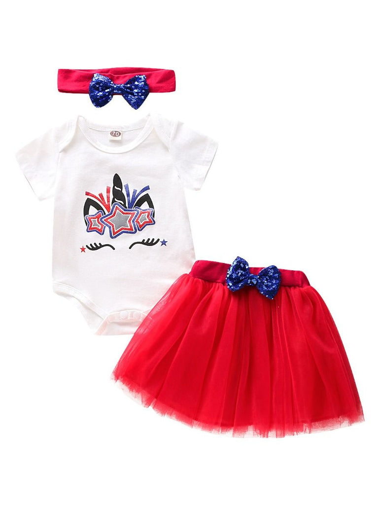 3-Piece Unicorn Independence Day Tulle Baby Girl Outfit