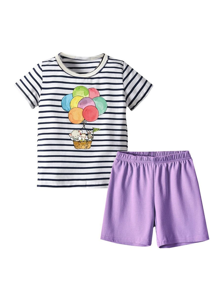 2-Piece Striped Hot Air Balloon Animal T-Shirt & Shorts Set