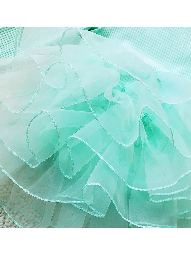 Tulle Long Sleeve Ribbed Baby Girl Dress