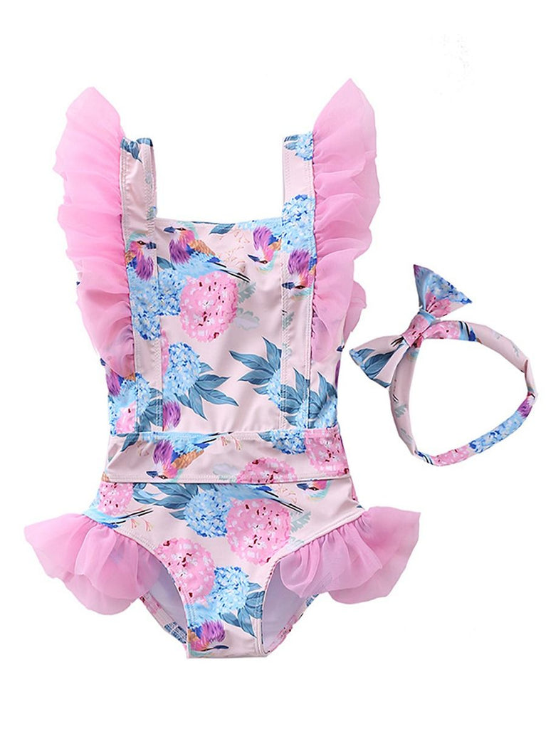 Flutter Pink Roses One Piece Swimsuit
