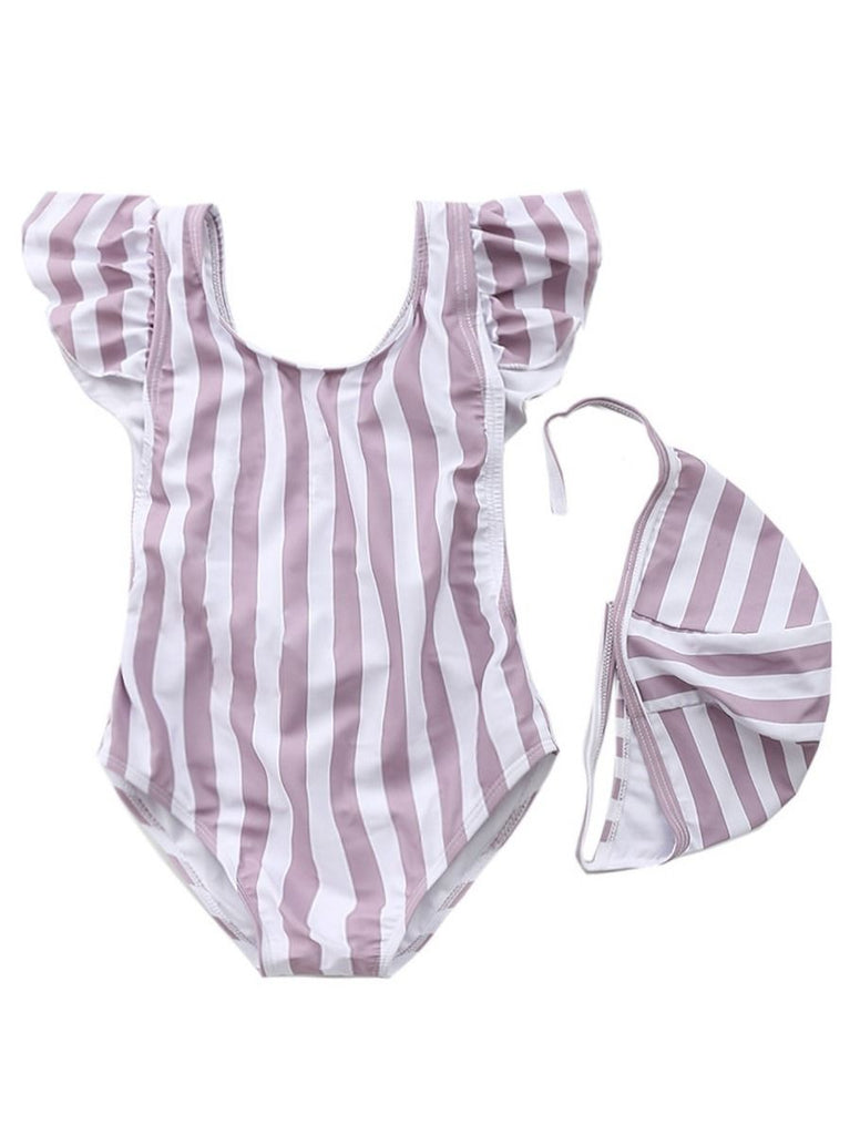 Striped Ruffle Criss Cross One-Piece Swimwear