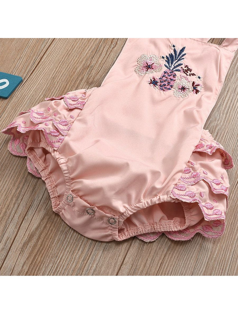 Floral Embroidered Baby Girl Romper