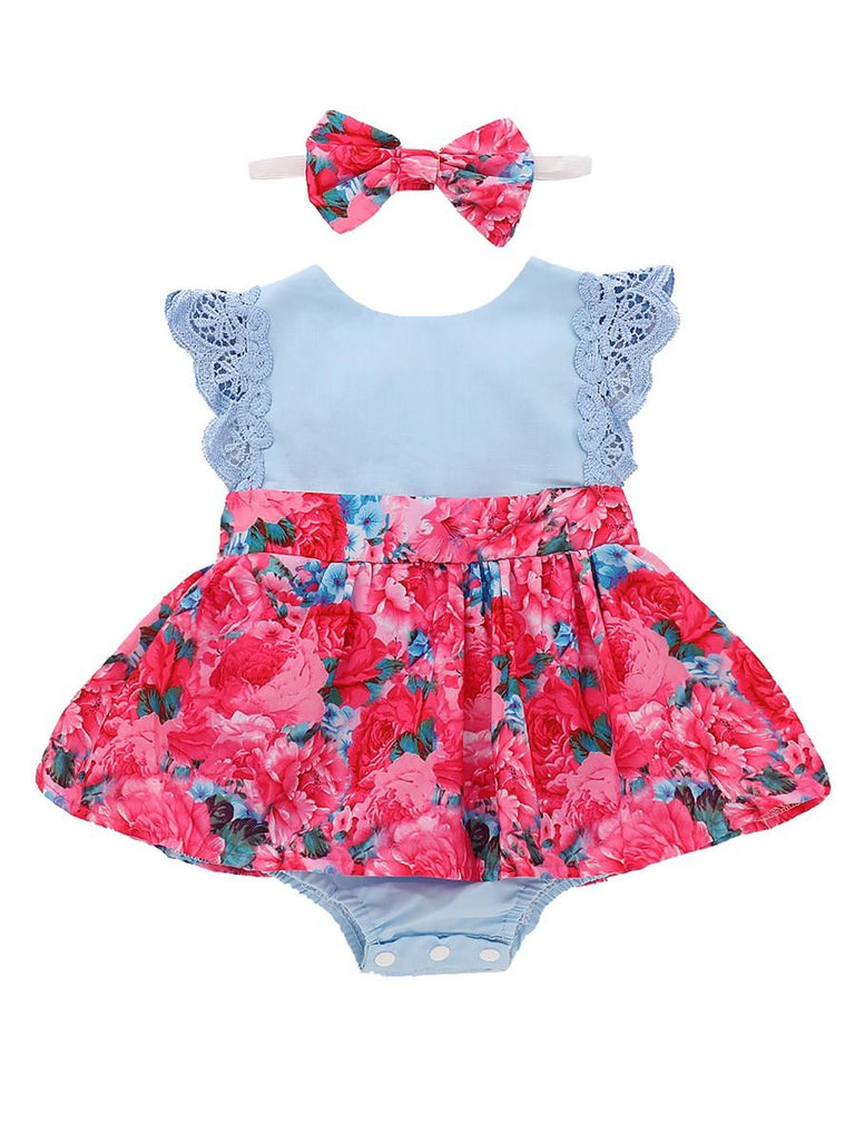 2-Piece Floral Lace Baby Girl Romper