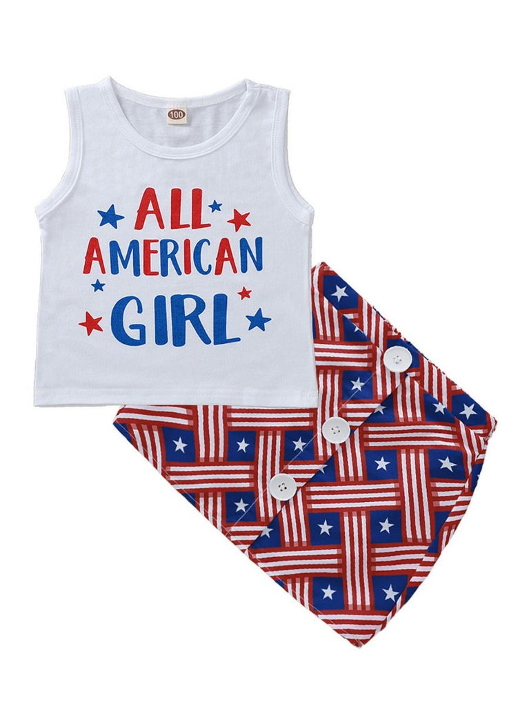 Patriotic All American Girl 2-Piece Summer Outfit