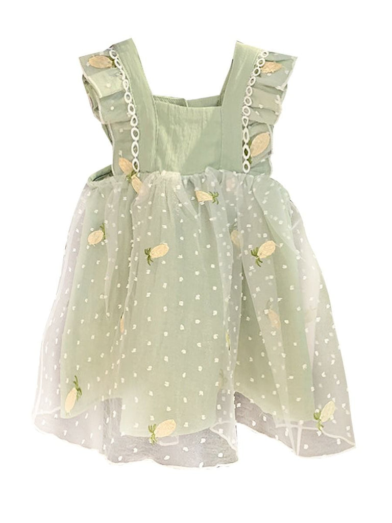 Pineapple Embroidered Baby Girl Dress