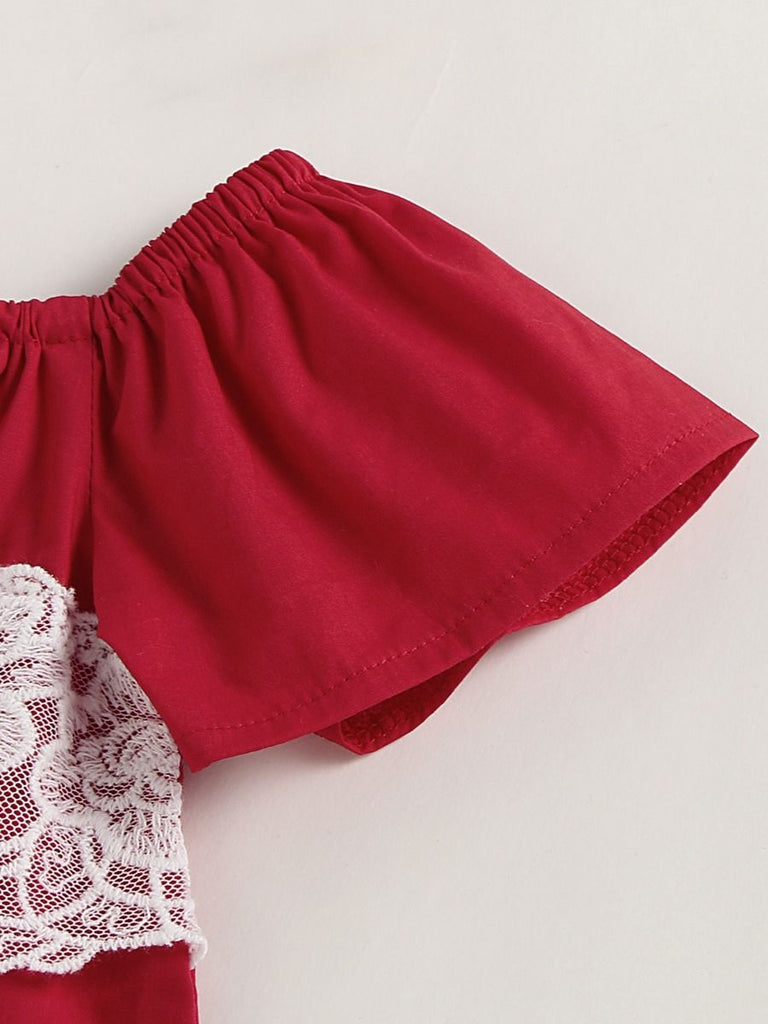3-Piece Baby Girl Lace Top Denim Ruffle Bloomers
