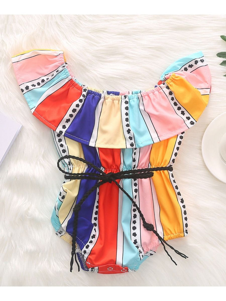 Stylish Off Shoulder Tribal Color Belt Romper