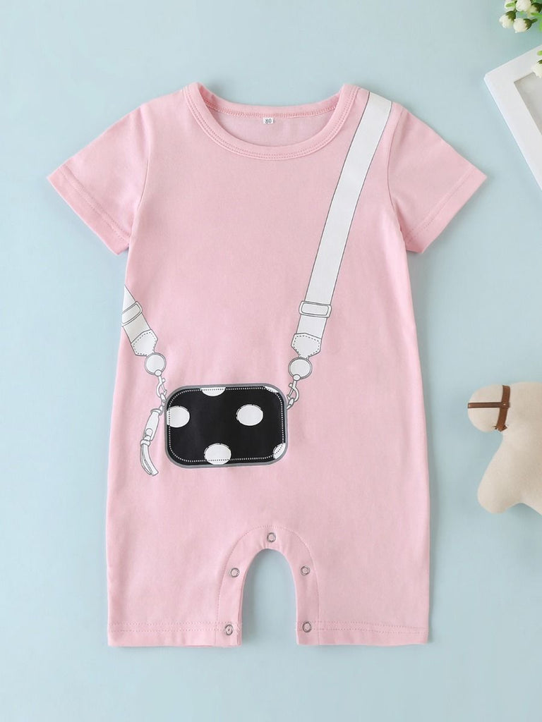 Pink Baby Girl Polka Dot Purse Jumpsuit