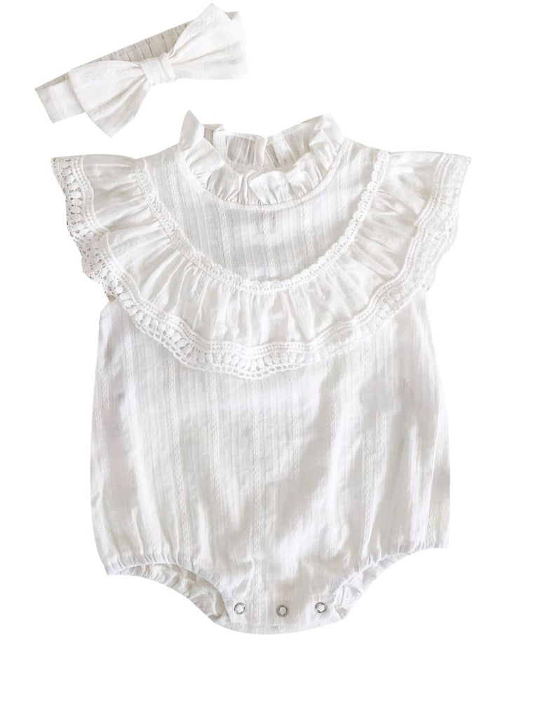 Soft Spanish Lace Baby Girl Romper
