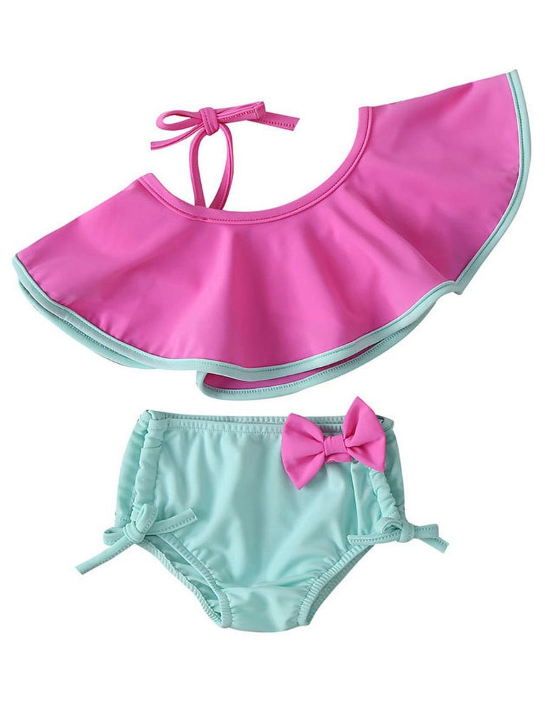 Adorable 2-Piece Toddler Girl Halter & Bow Bikini Set