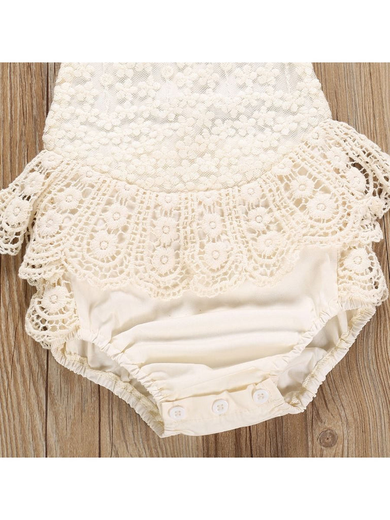 Halter Neck Lace Baby Girl Romper