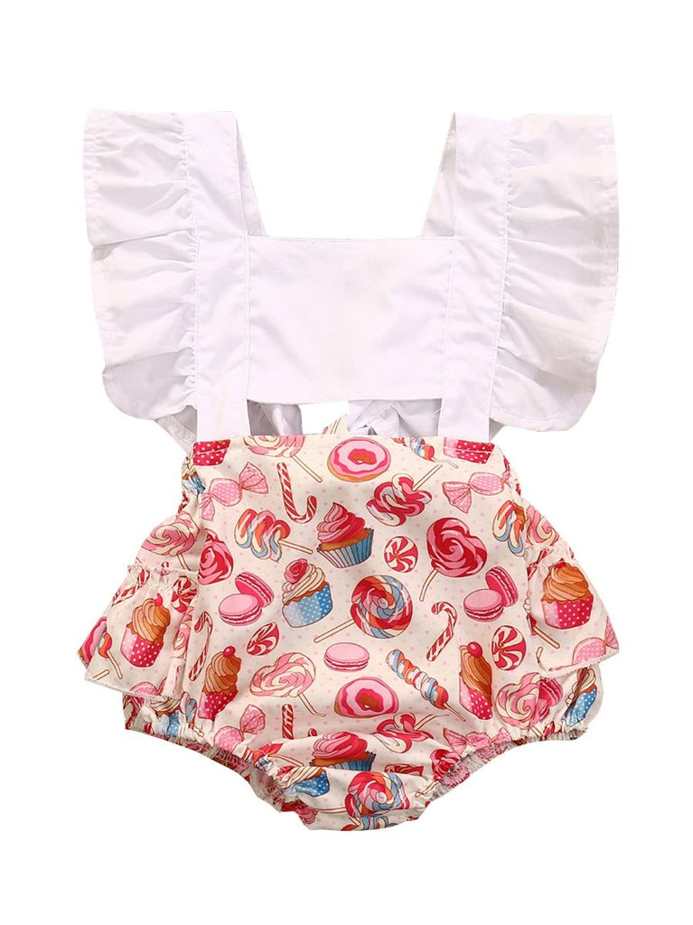 Adorable Cupcake & Candy Print Baby Girl Romper